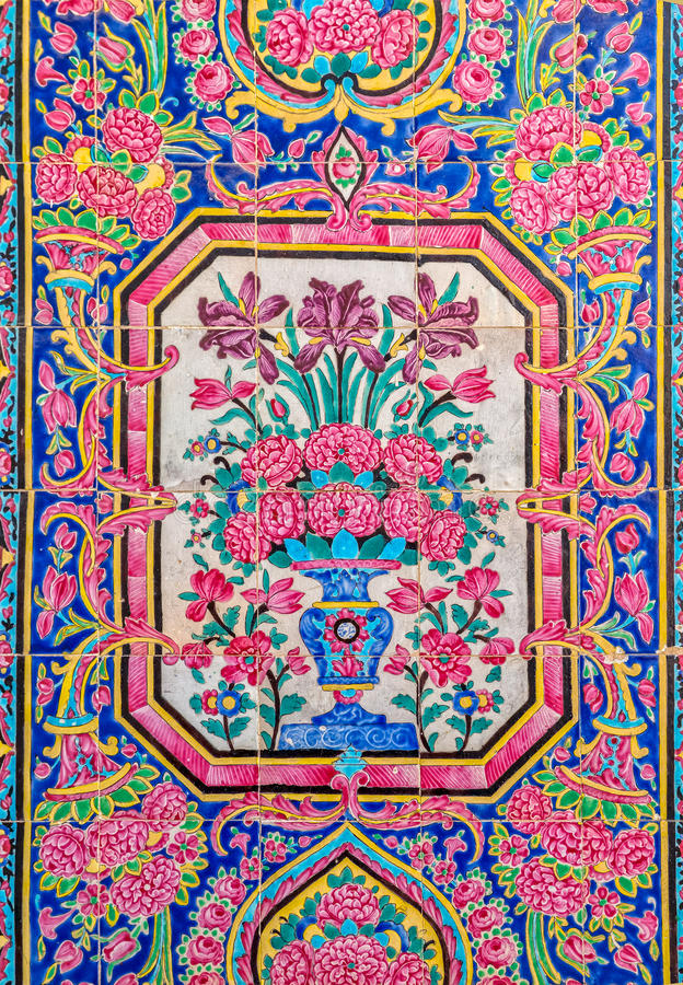 Nasir Al-Mulk Mosque a peint des tuiles image stock