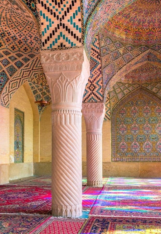 Nasir Al-Mulk Mosque in Shiraz, der Iran, alias rosa Moschee lizenzfreies stockfoto