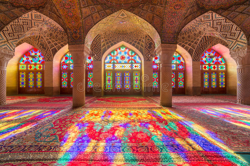Nasir Al-Mulk Mosque in Shiraz, Iran stock images