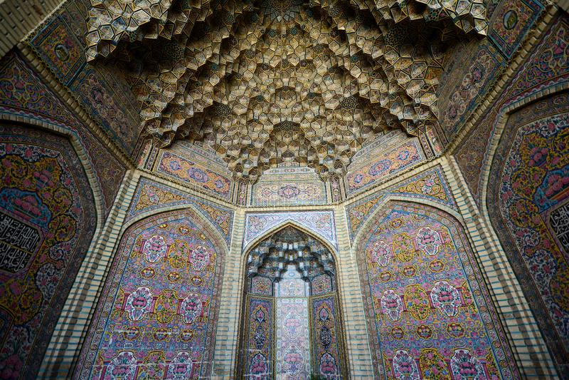 Nasir ulMolk清真寺,法尔斯省,设拉子 免版税库存图片
