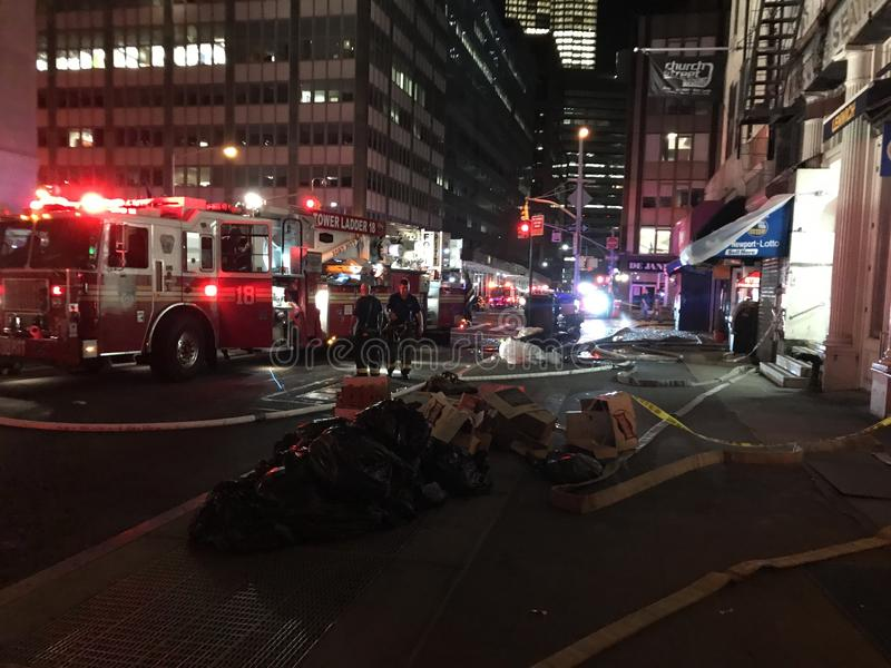 Nasleep van Vier Alarmbrand bij 24 Murray Street 11 royalty-vrije stock foto