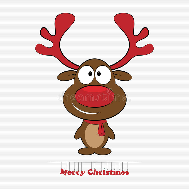 naso di rosso della renna di rudolph illustrazione