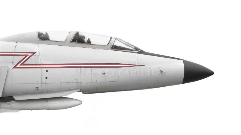 Naso di vecchio aereo da caccia isolato immagini stock