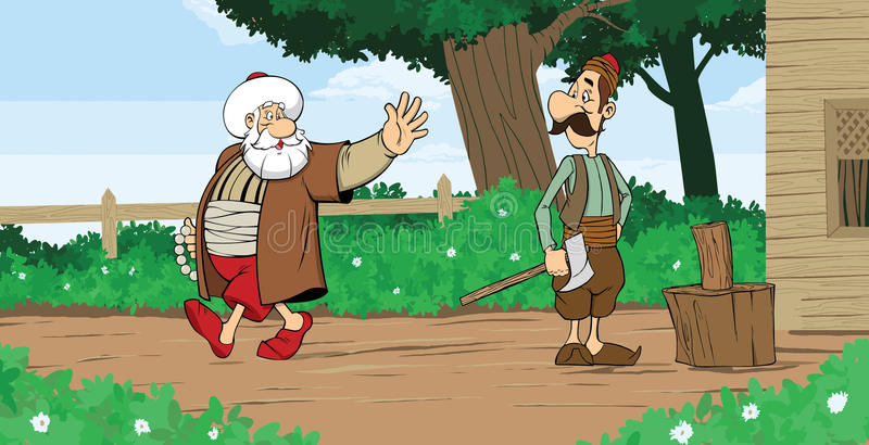 Nasreddin Hodja con el vecino libre illustration