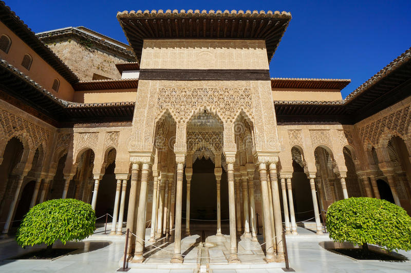 Nasrid palace court of the lions in alhambra in granada - Patios de granada ...