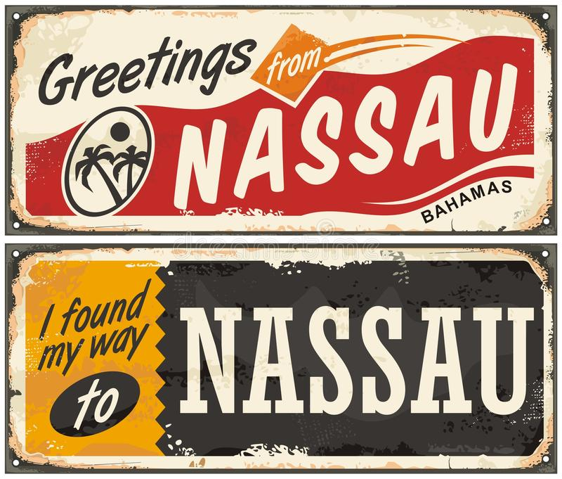 Nassau Bahamas artistic concept. For old retro greeting cards. Travel and vacation theme vector illustration