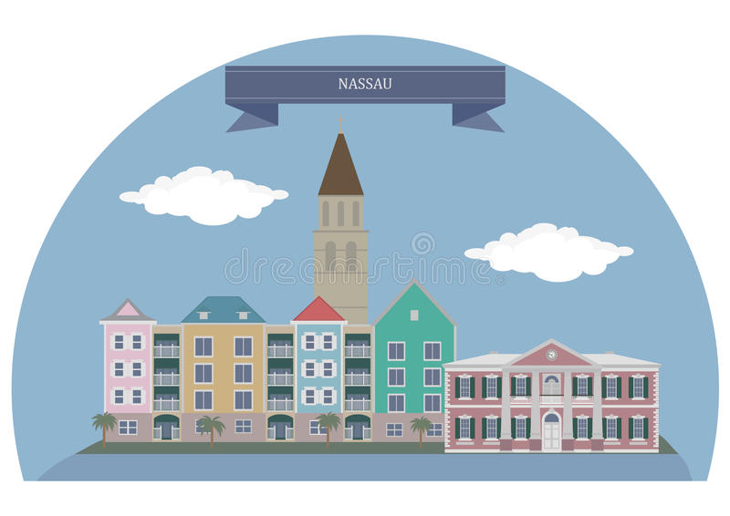 Nassau, Bahamas. Nassau. Capital, largest city, and commercial centre of the Commonwealth of the Bahamas vector illustration