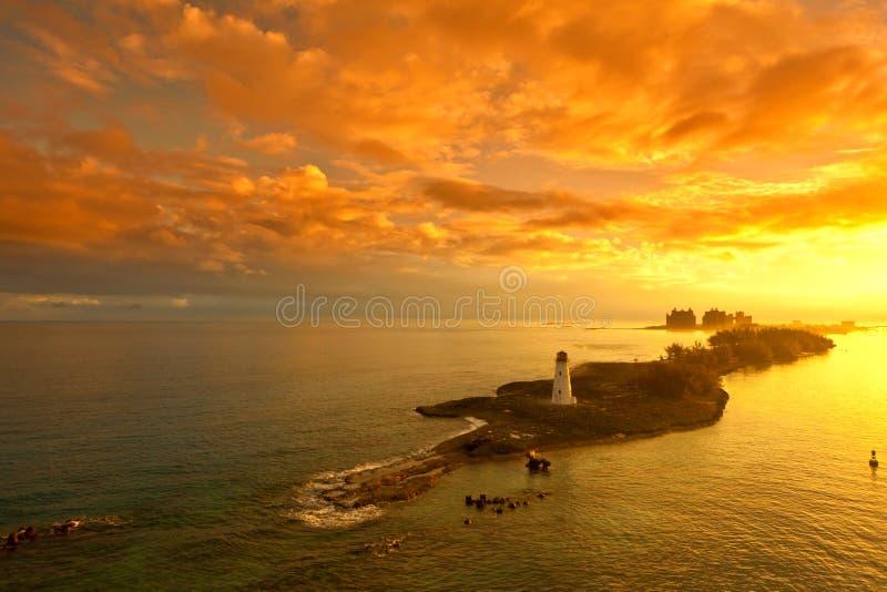 Nassau, bahamas at dawn. Nassau bahamas and lighthouse at dawn stock photography