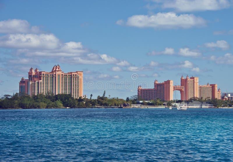 NASSAU, BAHAMAS - 7 de janeiro de 2019 O resort da ilha de Atlantis Paradise fotos de stock royalty free