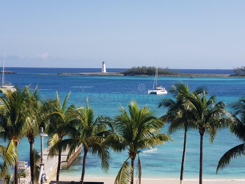 Nassau Bahamas lighthouse Caribbean catamaran stock photos