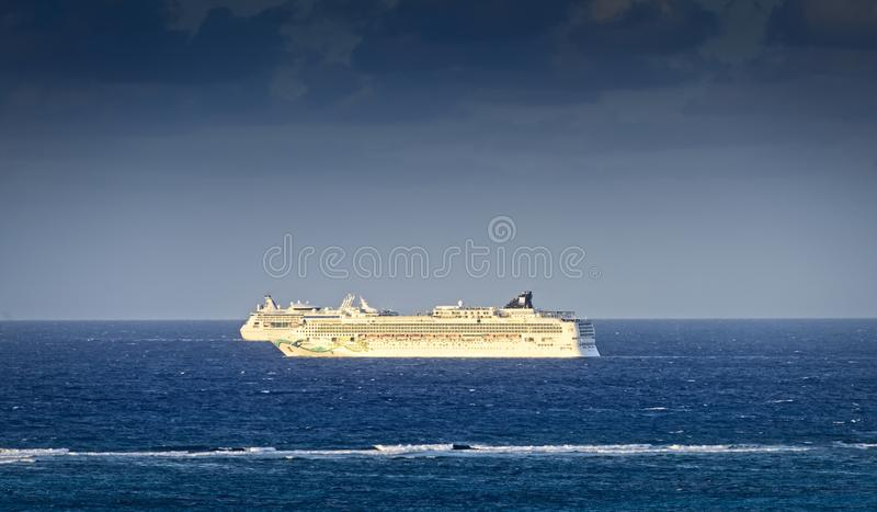 Two Cruise Ships in Caribbean stock photography