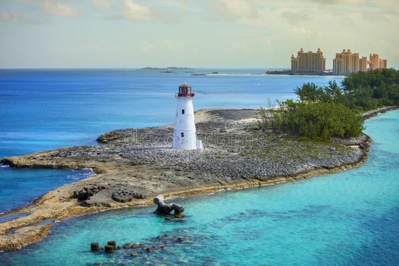 Nassau Bahamas och fyr arkivbild