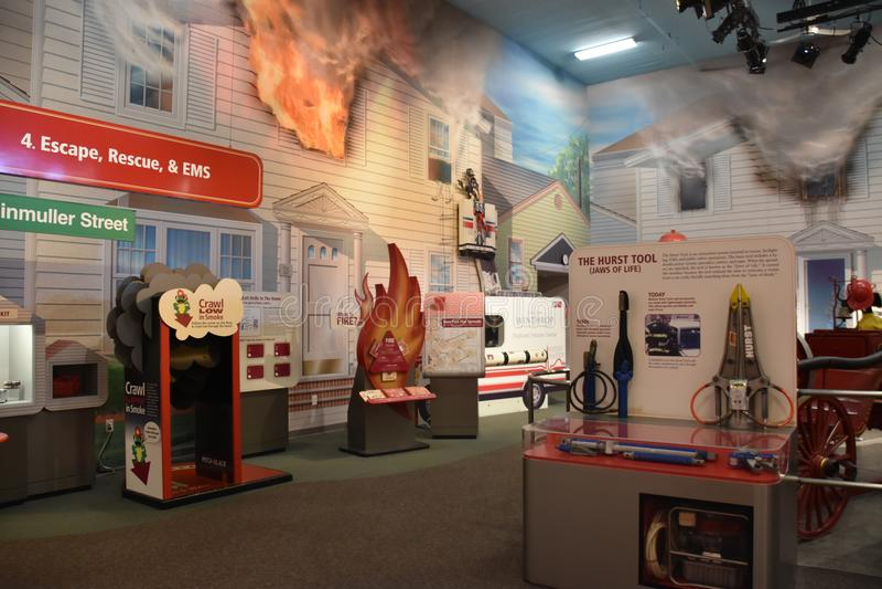 Nassau County brandmanmuseum på Long Island i New York, USA arkivbild
