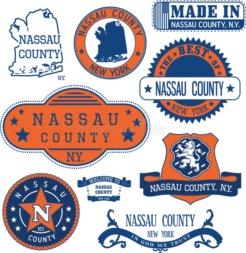 Nassau county, New York. Set of stamps and signs. royalty free illustration