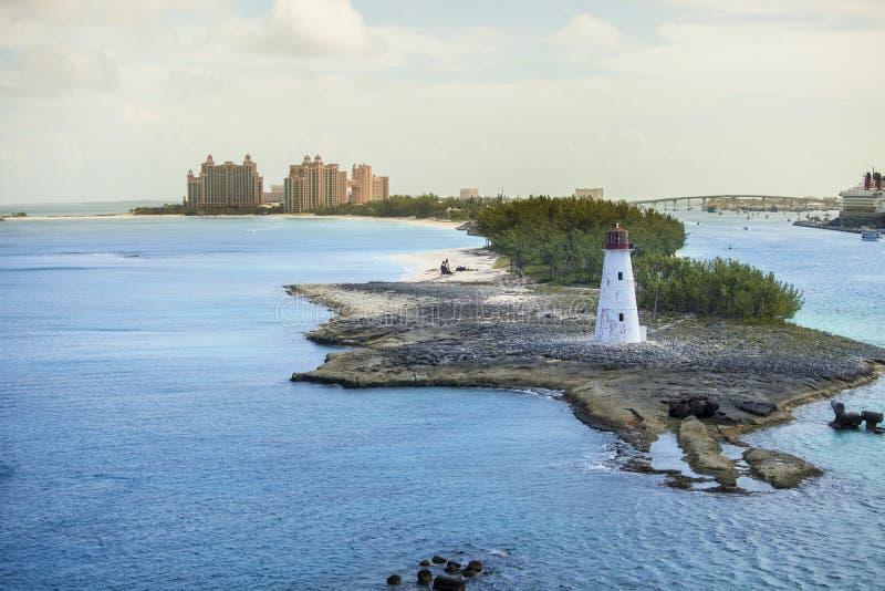 Nassau de Bahamas en vuurtoren stock afbeeldingen