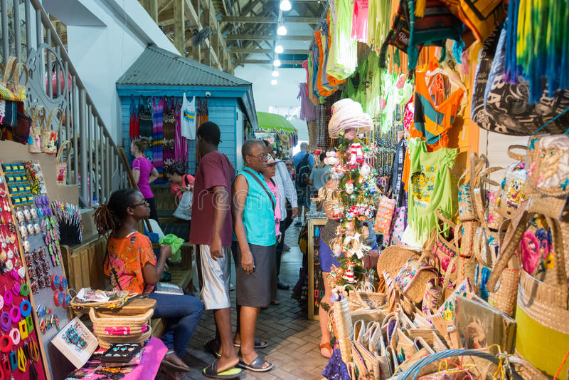 Nassau, de Bahamas Straw Market stock afbeelding
