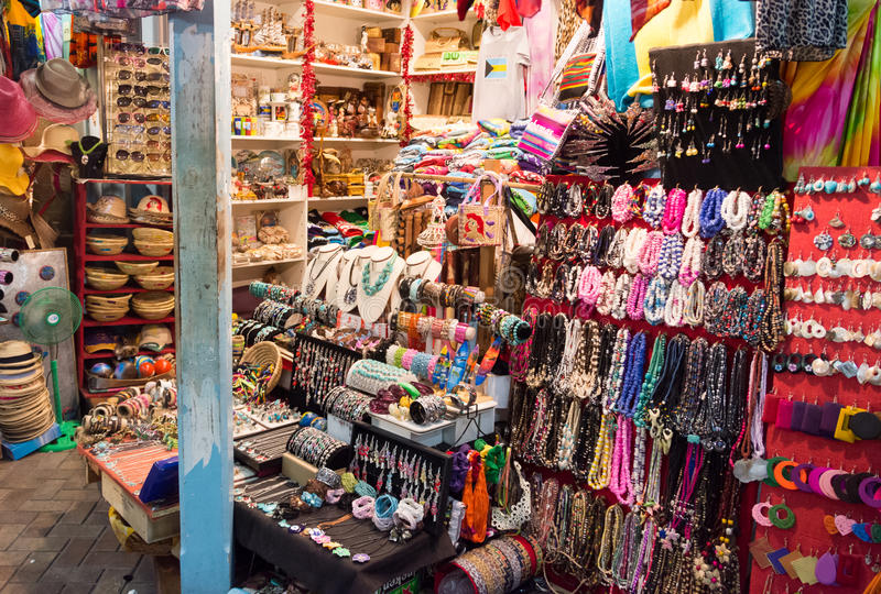 Nassau, de Bahamas Straw Market stock foto