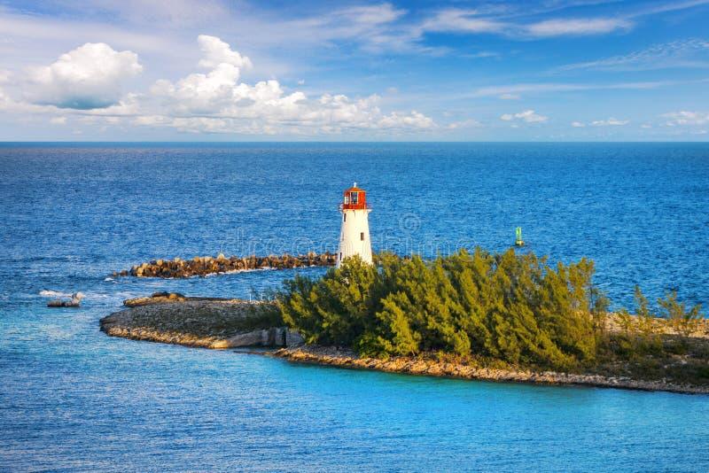 Nassau-Hafen-Leuchtturm, Bahamas stockbild
