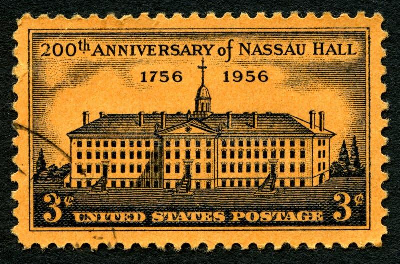 Nassau Hall usa znaczek pocztowy obraz stock
