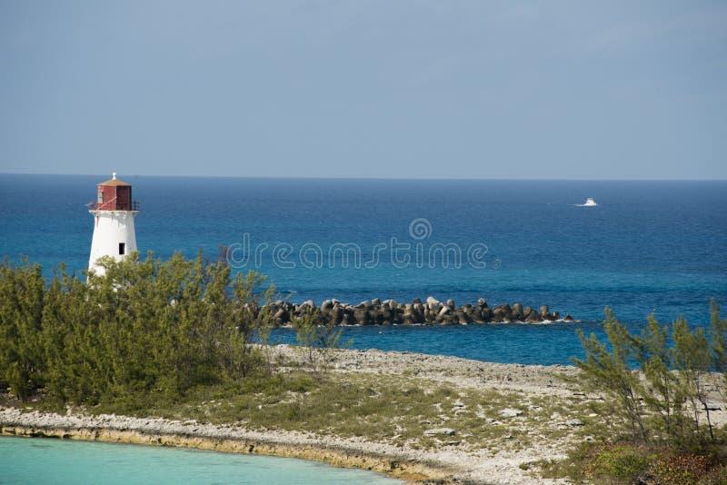 Nassau Harbour Lighthouse. View of Nassau Harbour Lighthouse on Paradise Island royalty free stock image