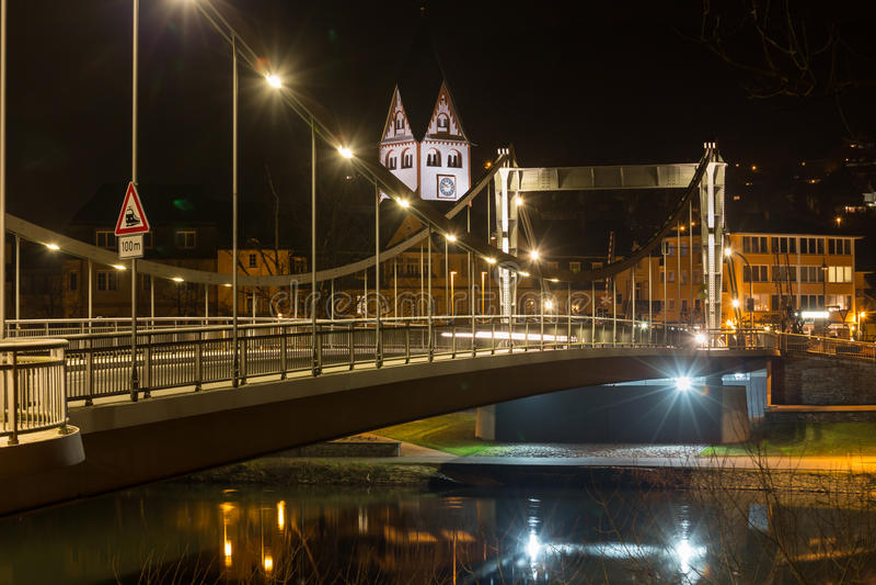 nassau miasto Germany przy nocą obrazy stock