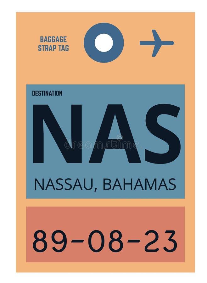 Nassau airport luggage tag. Nassau realistically looking airport luggage tag illustration vector illustration