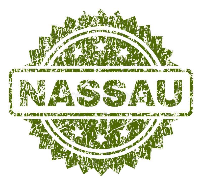 Grunge Textured NASSAU Stamp Seal. NASSAU stamp seal watermark with rubber print style. Green vector rubber print of NASSAU tag with scratched texture vector illustration