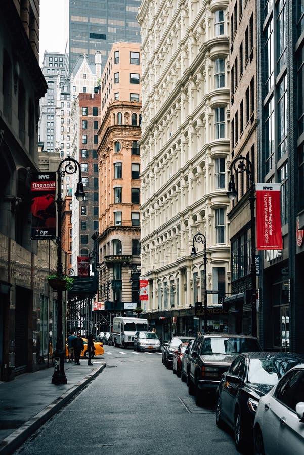 Nassau ulica w Pieniężnym okręgu, Manhattan, Miasto Nowy Jork fotografia royalty free