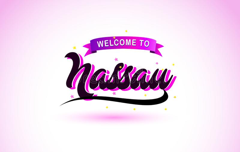 Nassau Welcome to Creative Text Handwritten Font with Purple Pink Colors Design. Vector Illustration stock illustration