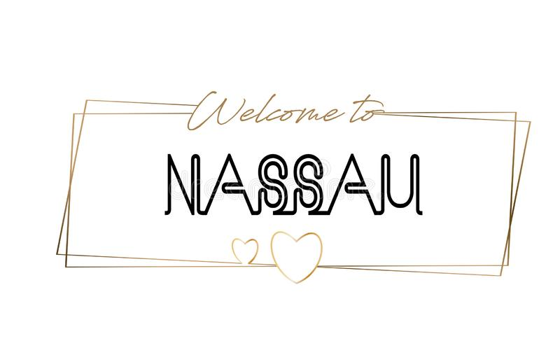 Nassau  Welcome to text Neon lettering typography. Word for logotype, badge, icon, postcard, logo, banner Vector Illustration. Nassau Welcome to text Neon royalty free illustration