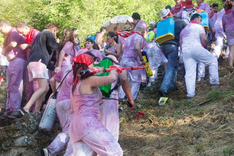 Nasse Leute bei Haro Wine Festival stockfoto