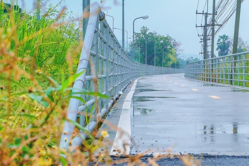 Nasse Straße nach Regen der die gelbe Linie, zum in zwei Wege unterzuteilen lizenzfreie stockfotografie