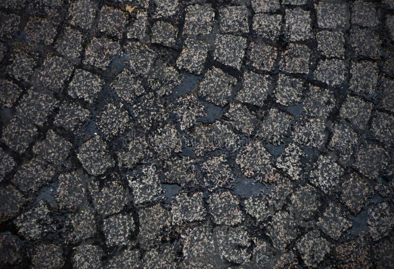 Nasser cobblestoned europäischer Straßenhintergrund lizenzfreie stockfotografie