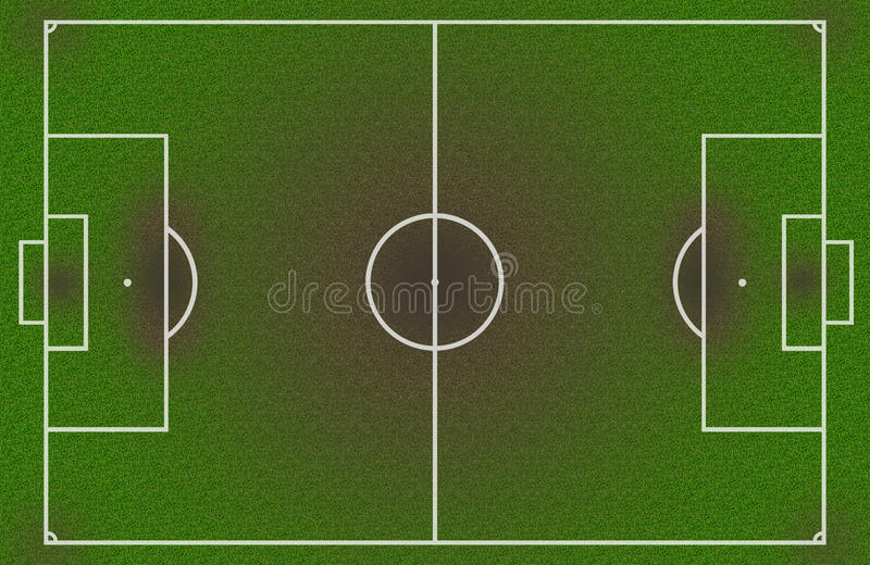 Nasses und schmutziges Feld des Fußballs vektor abbildung