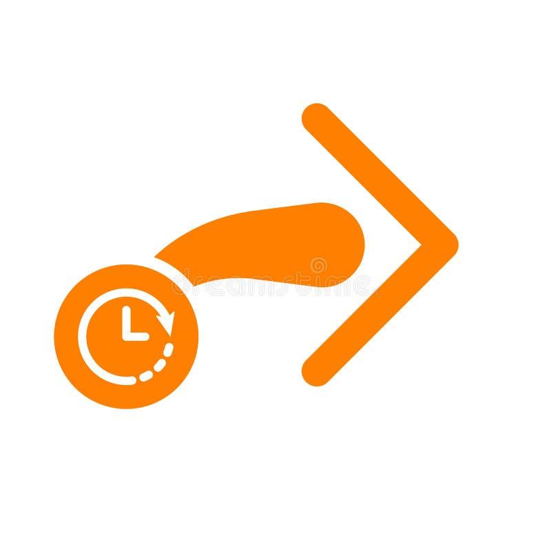Następna ikona, strzała ikona z zegaru znakiem Następny odliczanie i, ostateczny termin, rozkład, planistyczny symbol ilustracji