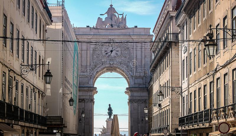następnie Lizbońskiego Augusta street zdjęcia stock