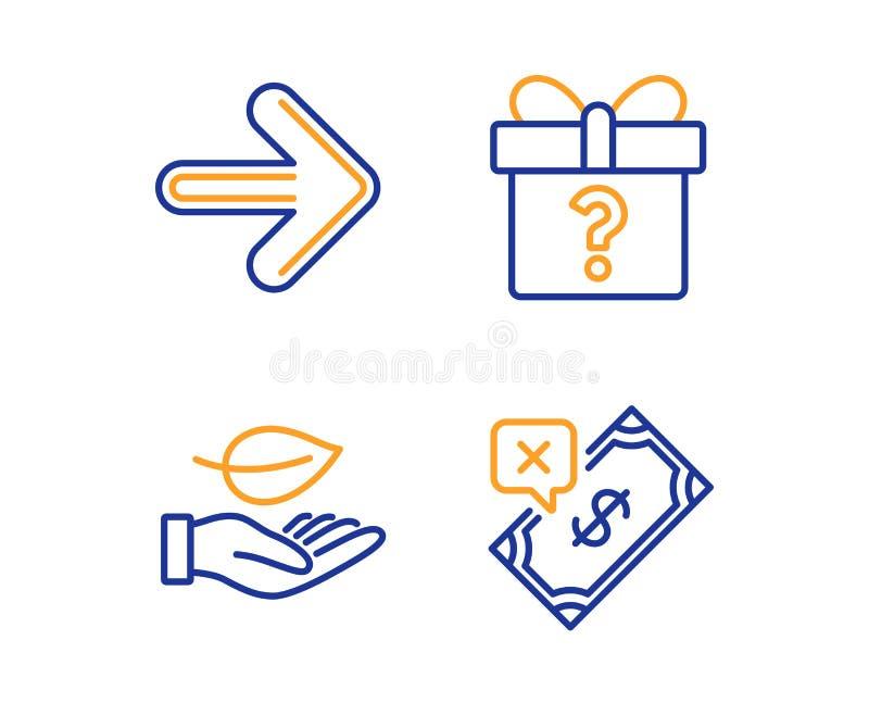 Następny, Tajny prezent, i liść ikony ustawiać Odrzucony zapłata znak Przedni, Niewiadomy pakunek, rośliny opieka wektor ilustracji