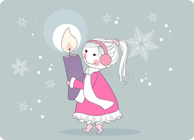 nastania świeczki dziewczyny wianek royalty ilustracja