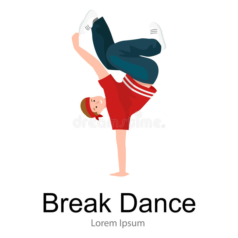 Nastolatek chłopiec hip hop dancingowy styl odizolowywał wektorową ilustrację ilustracja wektor