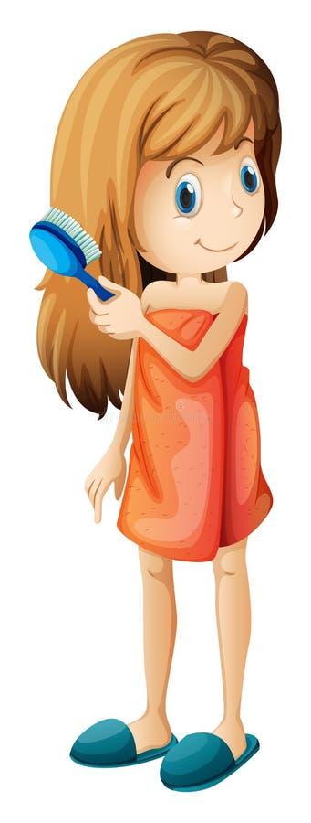 Nastolatek czesze jej włosy ilustracja wektor
