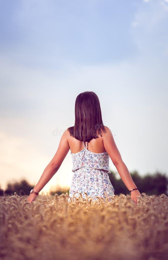 Nastolatek dziewczyna przy pszenicznym polem obrazy royalty free