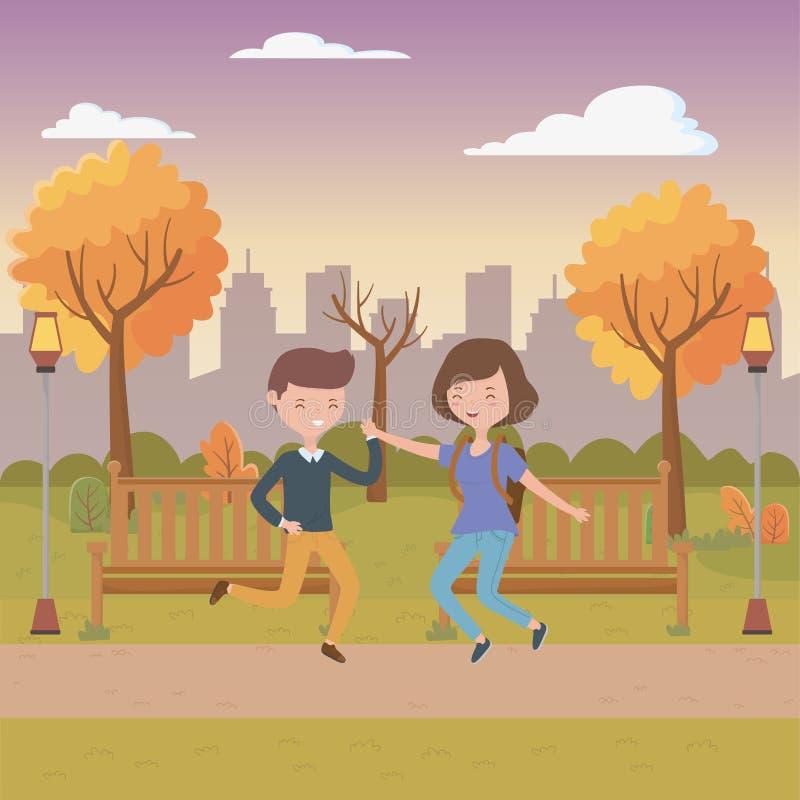 Nastolatek dziewczyny i chłopiec kreskówek projekt ilustracji