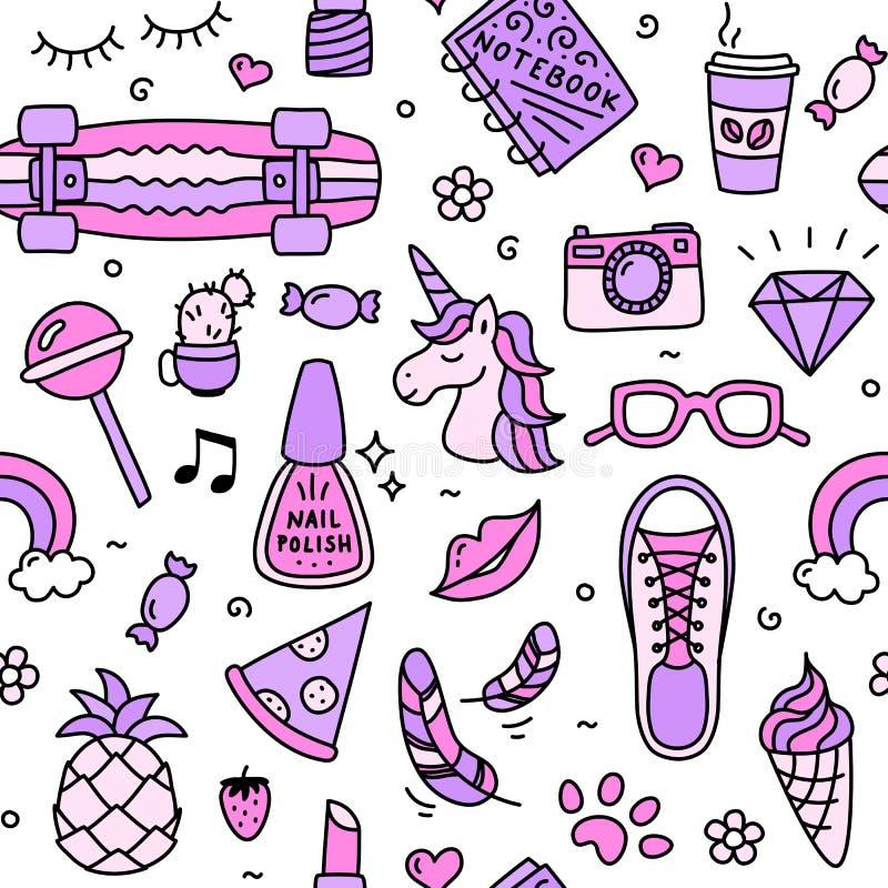 Nastolatek dziewczyny rzeczy ulubionych ch?odno menchii bezszwowy deseniowy doodle royalty ilustracja