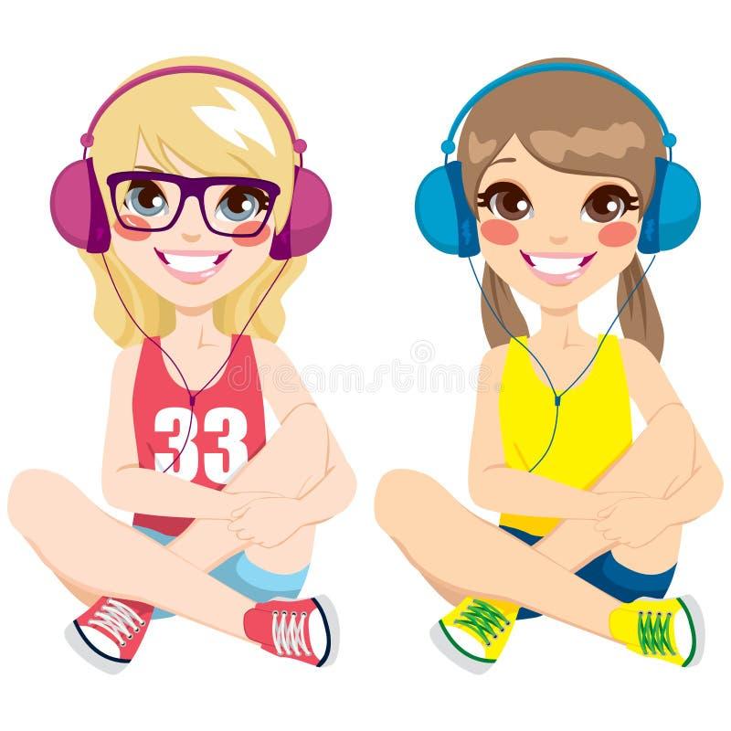 Nastolatek dziewczyny Słucha muzykę ilustracja wektor