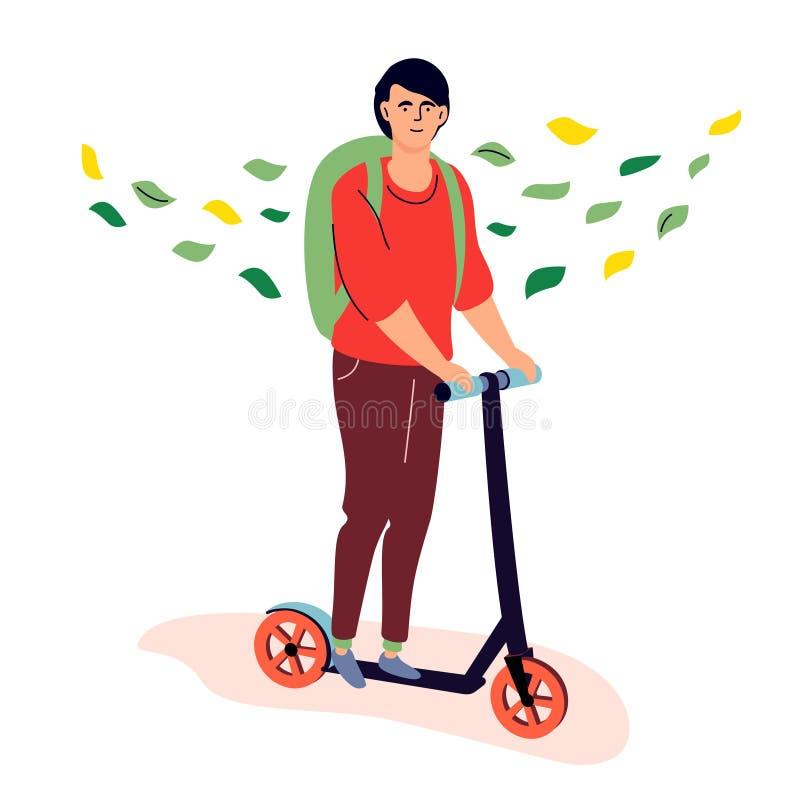 Nastolatek jedzie kopnięcie hulajnogę - kolorowa płaska projekta stylu ilustracja ilustracji