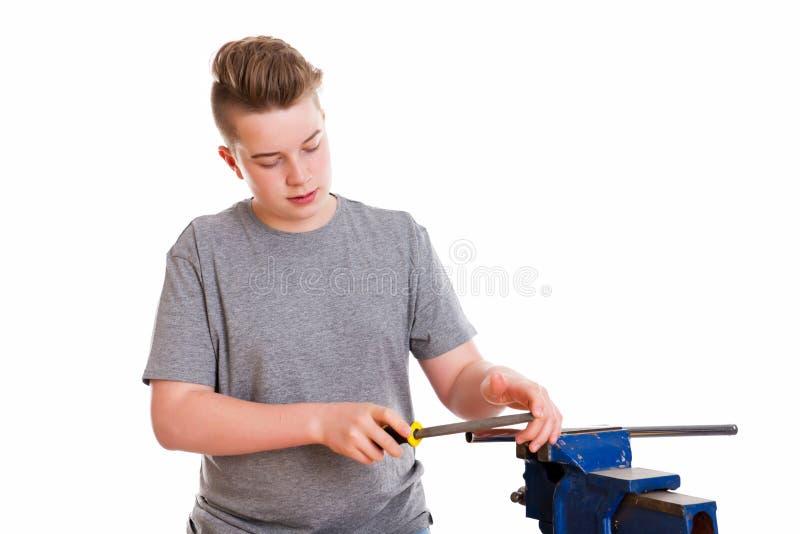 Nastolatek w fachowym szkoleniu z raszplą zdjęcie stock