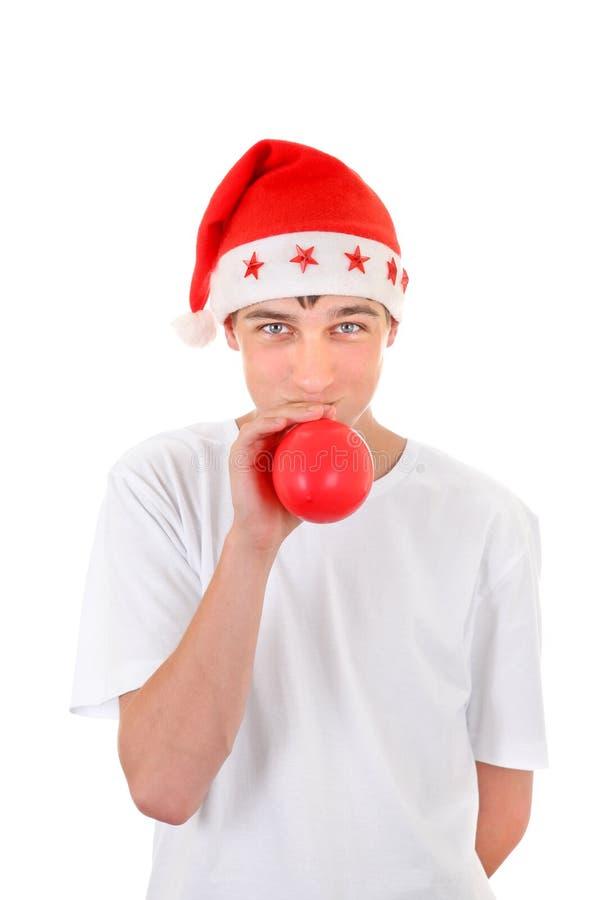 Nastolatek w Santa kapeluszu fotografia stock
