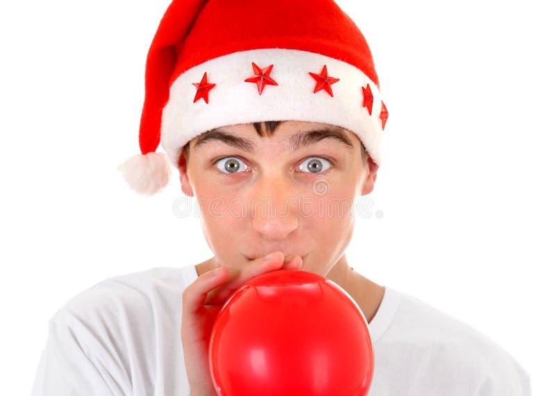 Nastolatek w Santa kapeluszu zdjęcie royalty free