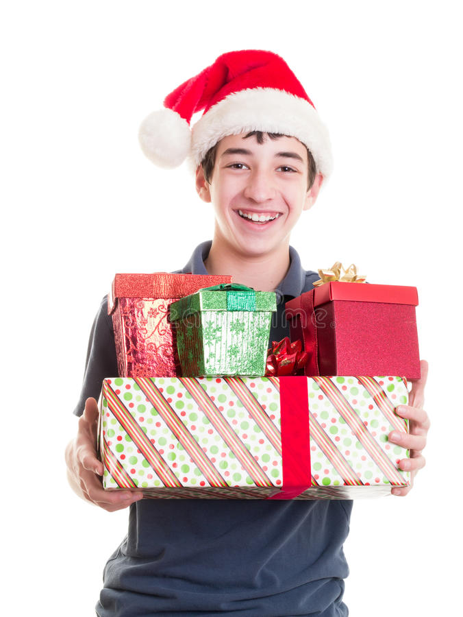 Nastolatek z Bożenarodzeniowymi prezentami obraz stock