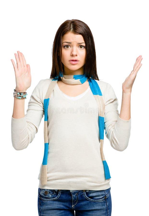 Nastolatek z ona ręki up fotografia royalty free